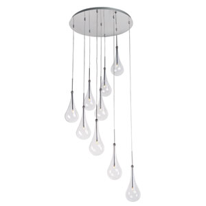 Larmes LED Polished Chrome 22-InchNine Light Single Pendant