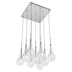 Larmes LED Polished Chrome 12-Inch Nine Light Single Pendant