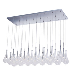 Larmes LED Polished Chrome 18-Inch 24 Light Linear Pendant