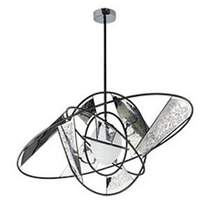 Astro Black LED Pendant with White Glass