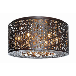 Inca Bronze Seven-Light LED 16-Inch Flushmount