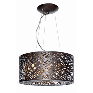 Inca Bronze Seven-Light LED 16-Inch Pendant