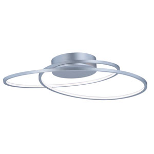 Cycle Matte Silver LED 25-Inch Semi Flush Mount