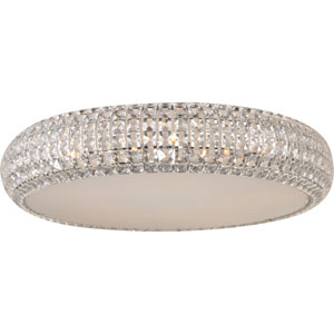 Bijou Polished Chrome Four-Light Flush Mount with Crystal Glass
