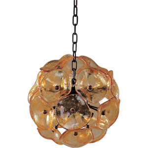 Fiori Bronze Eight-Light Mini Pendant with Amber Murano Glass