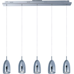 Bullet Polished Chrome Five-Light LED Mini Pendant