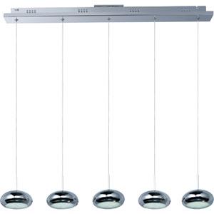 Dial Polished Chrome Five-Light LED Linear Mini Pendant