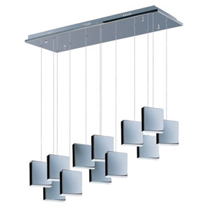 Brick Polished Chrome Seven-Light LED 38-Inch Pendant