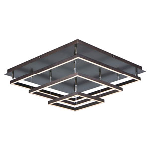 Quad Bronze 12-Light LED 30-Inch Flushmount