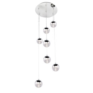 Zing Polished Chrome Seven-Light LED 17-Inch RapidJack Pendant