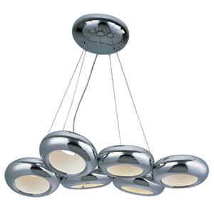 Donuts Polished Chrome Six-Light LED 18-Inch Chandelier