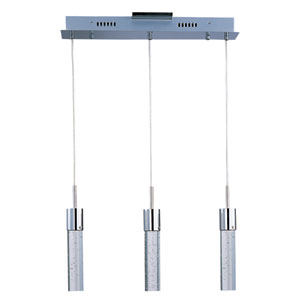 Fizz IV Polished Chrome LED Three Light Linear Mini Pendant