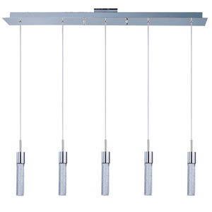 Fizz IV Polished Chrome LED Five Light Linear Mini Pendant