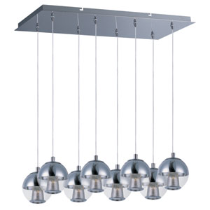 Reflex Polished Chrome LED Eight Light Linear Pendant