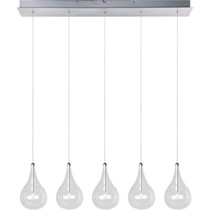 Larmes Polished Chrome Five-Light Island Pendant with Clear Glass