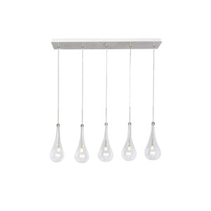 Larmes LED Polished Chrome 4.5-Inch Five Light Linear Mini Pendant