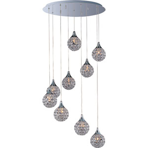 Brilliant Polished Chrome Nine-Light Mini Pendant with Round Canopy