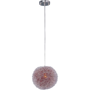 Clipp Brushed Aluminum One-Light Pendant with Red Interior