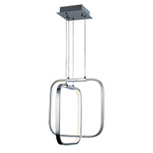 Squared Polished Chrome LED 14-Inch Pendant