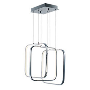 Squared Polished Chrome LED 18-Inch Pendant