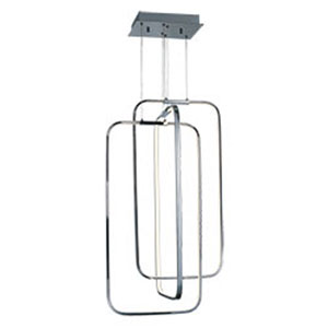 Squared Polished Chrome LED 34-Inch Pendant