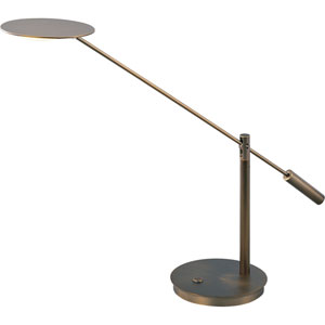 Eco-Task Bronze Adjustable Arm LED Table Lamp with Flat Shade