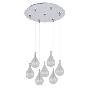Larmes Satin Nickel Seven-Light RapidJack Pendant