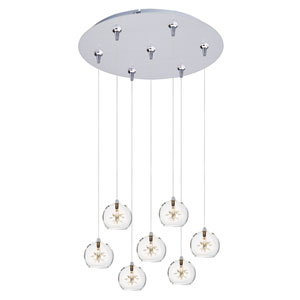 Starburst Satin Nickel Seven-Light RapidJack Pendant with Clear Glass