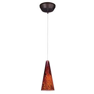Lava Bronze One-Light 5-Inch RapidJack Mini Pendant with Amber Lava Glass