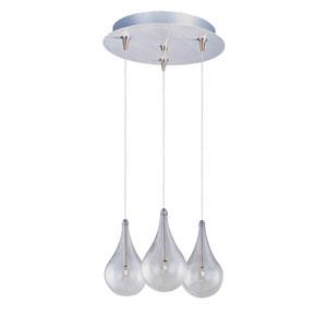 Larmes Satin Nickel Three-Light RapidJack Mini Pendant and Canopy