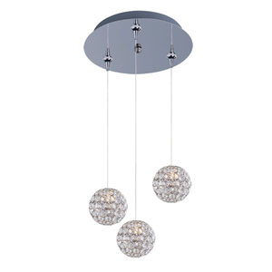 Brilliant Polished Chrome Three-Light 12-Inch RapidJack Pendant