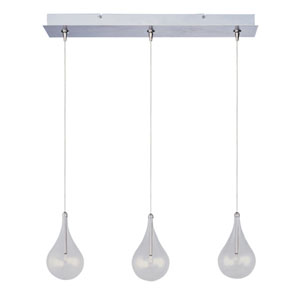 Larmes Satin Nickel Three-Light Horizontal RapidJack Mini Pendant and Canopy