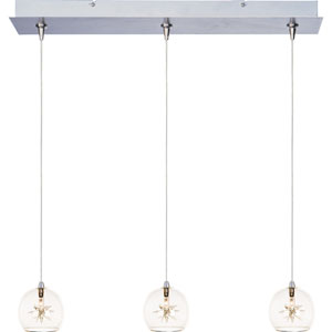 Starburst Satin Nickel Three-Light 4-Inch RapidJack Pendant with Clear Glass