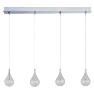 Larmes Satin Nickel Four-Light Horizontal RapidJack Mini Pendant and Canopy