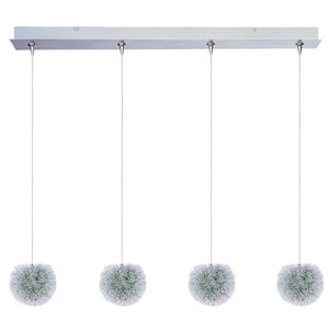 Clipp Brushed Aluminum Four-Light 5-Inch RapidJack Pendant with Green Shade