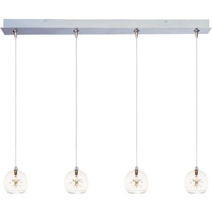Starburst Satin Nickel Four-Light 5-Inch RapidJack Pendant with Clear Glass