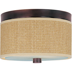 Elements Oil Rubbed Bronze Two-Light Flush Mount with Grass Cloth Natural Fiber Shade