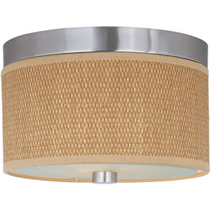 Elements Satin Nickel Two-Light Flush Mount with Grass Cloth Natural Fiber Shade