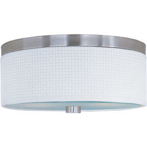 Elements Satin Nickel Two-Light Flush Mount with White Weave Vinyl Shade