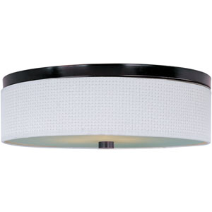 Elements Oil Rubbed Bronze Three-Light Flush Mount with White Weave Vinyl Shade