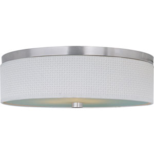 Elements Satin Nickel Three-Light Flush Mount with White Weave Vinyl Shade