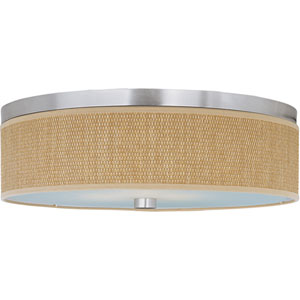 Elements Satin Nickel Three-Light Flush Mount with Grass Cloth Natural Fiber Shade