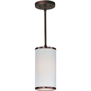 Elements Oil Rubbed Bronze One-Light Mini Pendant with White Pleat Linen Shade