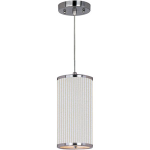 Elements Satin Nickel One-Light Mini Pendant with White Pleat Linen Shade