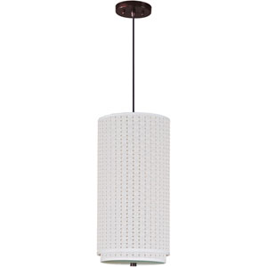 Elements Oil Rubbed Bronze One-Light Mini Pendant with White Weave Vinyl Shade