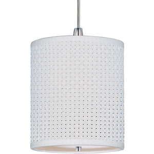 Elements Satin Nickel One-Light RapidJack Mini Pendant with White Weave Shade