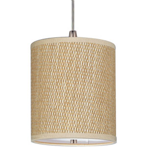 Elements Satin Nickel One-Light RapidJack Mini Pendant with Grass Cloth Shade