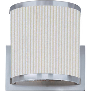 Elements Satin Nickel One-Light Wall Sconce with White Pleat Linen Shade