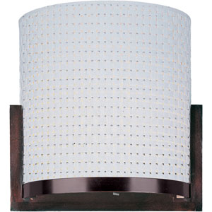 Elements Oil Rubbed Bronze One-Light Wall Sconce with White Weave Vinyl Shade