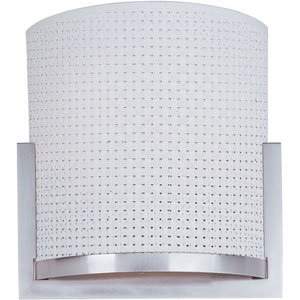 Elements Satin Nickel One-Light Wall Sconce with White Weave Vinyl Shade